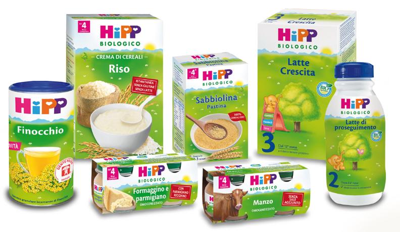 Prodotti per l'infanzia dell'HIPP:  riso, finocchio, latte, pasta, omogeneizzato
